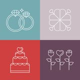 Vector wedding icons in outline style Royalty Free Stock Photo