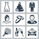 Vector wedding icons set Stock Image