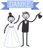 Vector wedding illustration of cute stick figures bridal couple standing, waving, blue banner Danke. Isolated on white background, wedding invitation template royalty free illustration