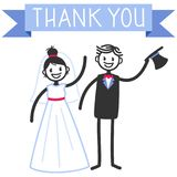 Vector wedding illustration of cute stick figures bridal couple standing, waving, blue banner Thank, wedding invitation template. Vector wedding illustration of royalty free illustration