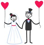 Vector wedding illustration of happy stick figures bridal couple holding hands and heart-shaped balloons. Isolated on white background, wedding invitation Stock Images