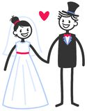 Vector wedding illustration of happy stick figures bridal couple holding hands looking at each other. Isolated on white background, wedding invitation template royalty free illustration