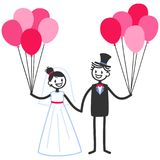 Vector wedding illustration of happy stick figures bridal couple holding hands and pink balloons, wedding invitation template. Vector wedding illustration of Royalty Free Stock Photos