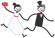 Vector wedding illustration of happy stick figures bridal couple holding hands running, wedding invitation template. Vector wedding illustration of happy stick royalty free illustration