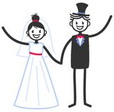 Vector wedding illustration of happy stick figures bridal couple holding hands and waving. Isolated on white background, wedding invitation template stock illustration