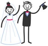 Vector wedding illustration of happy stick figures bridal couple waving and greeting isolated on white background. Wedding invitation template stock illustration