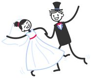 Vector wedding illustration of happy stick figures newlyweds dancing wildly, wedding invitation templ. Vector wedding illustration of happy stick figures Royalty Free Stock Photo