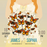 Vector wedding inspirational card with flying butterflies bouquet. Romantic redhead woman bride silhouette background. Stock Photo