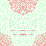 Vector wedding invitation card abstract floral round lace ornament Stock Image