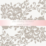 Vector Wedding Invitation card with lace lily flower ornament Stock Photos