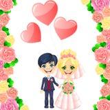 Vector wedding invitation with cute cartoon bride  Stock Image