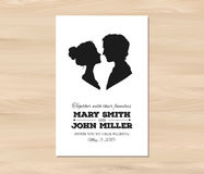 Vector wedding invitation with profile silhouettes Royalty Free Stock Photography