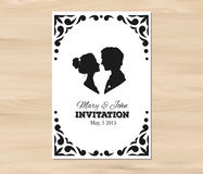 Vector wedding invitation with profile silhouettes Stock Photography