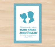 Vector wedding invitation with profile silhouettes Stock Photos