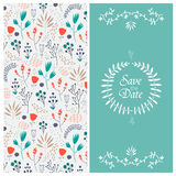 Vector wedding invitation, 2 sides Floral Royalty Free Stock Image