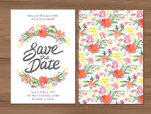 Vector wedding invitation with watercolor flowers and hand drawn Stock Photos