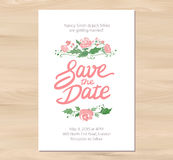 Vector wedding invitation with watercolor flowers Royalty Free Stock Photography