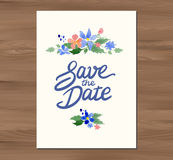 Vector wedding invitation with watercolor flowers Stock Images