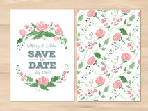 Vector wedding invitation with watercolor flowers