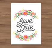 Vector wedding invitation with watercolor flowers Royalty Free Stock Images