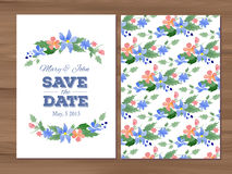 Vector wedding invitation with watercolor flowers and typographi Stock Image