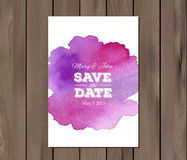 Vector wedding invitation with watercolor stain Stock Photography