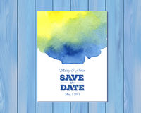 Vector wedding invitation with watercolor stain Royalty Free Stock Photo