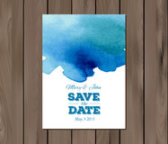 Vector wedding invitation with watercolor stain Royalty Free Stock Image