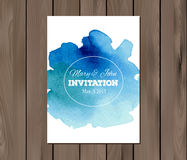 Vector wedding invitation with watercolor stain Royalty Free Stock Images