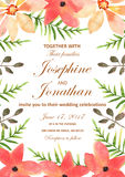 Vector Wedding Invitation With Floral Background. Hand Drawn Wat Stock Photography
