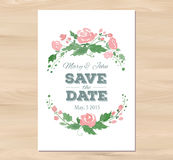 Vector Wedding Invitation With Watercolor Flowers Royalty Free Stock Photos