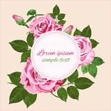 Vector wedding invitations with pink roses wreath on beige backg. Vector Save the date wedding invitations with pink roses wreath on the beige background. Floral Stock Photos