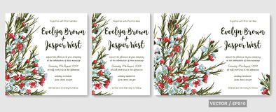 Vector wedding invitations set with red and blue wax flowers ch Stock Photos
