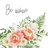 Vector wedding invite, greeting card design with floral watercol vector illustration