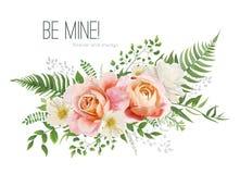 Vector Wedding Invite, Greeting Card Design With Floral Watercolor Bouquet. Garden Pink Peach, Orange Rose, Yellow White Magnolia Stock Photos