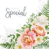 Vector wedding invite, invitation, greeting card design with flo stock illustration