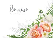 Vector wedding invite, invitation, greeting card design. Floral, watercolor style bouquet with garden pink peach Rose. Flower, white Magnolia flowers & forest royalty free illustration