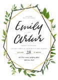 Vector wedding invite invitation save the date floral card desig. N. Green fern, forest leaves herbs, greenery plant mix. Natural botanical Greeting  editable Stock Images