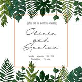 Vector wedding invite invitation save the date floral card design. Green fern, forest leaves herbs, greenery plant mix. Natural botanical Greeting editable Stock Photos