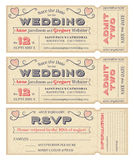 Vector Wedding Invite Tickets Stock Images