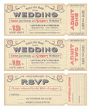 Vector Wedding Invite Tickets. 3 hi detail Vector Grunge Tickets for Wedding Invitations and Save the Date. Each ticket is on 4 different layers with Text, Decos Royalty Free Stock Images