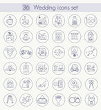 Vector Wedding Outline icon set. Thin line style design. Royalty Free Stock Image