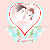 Vector wedding portrait of a couple in heart. Stock Image