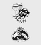 Vector Wedding Romantic Icon and Pictogram Flat Design Royalty Free Stock Photography