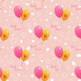 Vector Wedding seamless pattern with balloons. Vector pink wedding seamless pattern with dancing bright balloons. Element for your wedding designs, valentines Royalty Free Stock Images