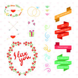 Vector wedding set with birds, hearts, arrows, Royalty Free Stock Images