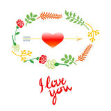 Vector wedding set with birds, hearts, arrows, ribbons, wreaths, flowers Stock Image