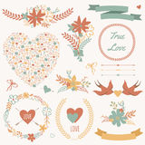 Vector wedding set with bouquets, birds, hearts, arrows, ribbons. And other elements Royalty Free Stock Photography