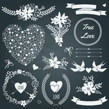 Vector wedding set with bouquets, birds, hearts, arrows, ribbons. And other elements Royalty Free Stock Images