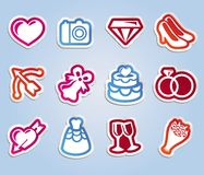 Vector wedding sticker with love and romance icons Stock Photo